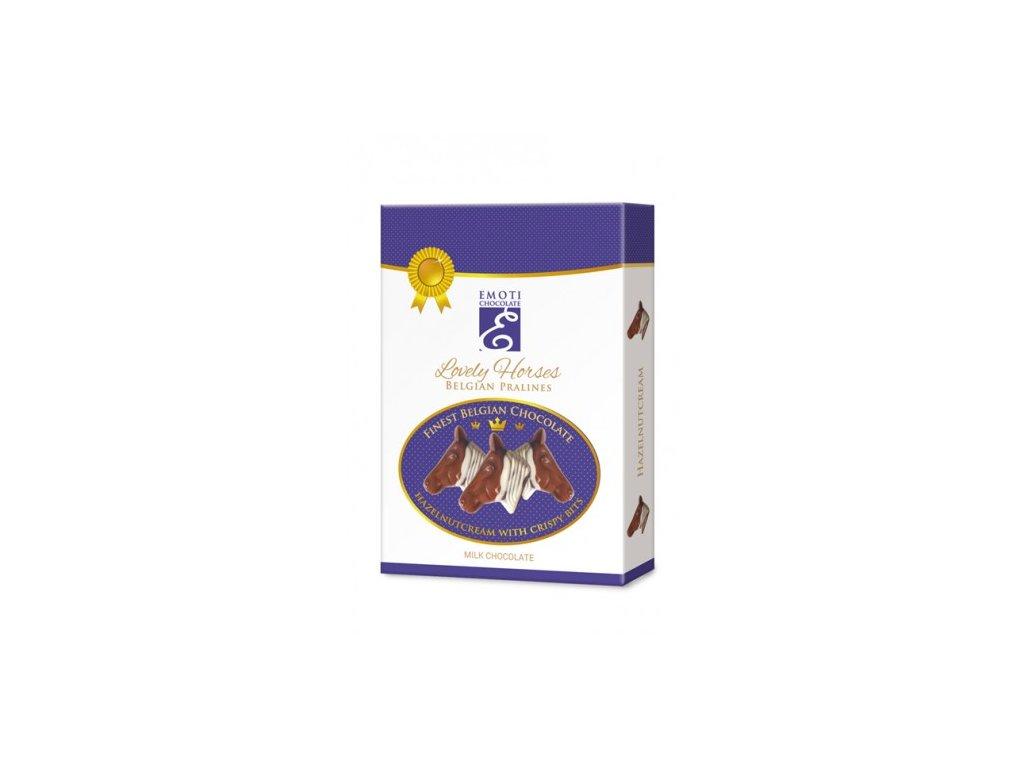 Emoti Belgické pralinky Lovely Horses z mléčné čokolády s lískooříškovou náplní 95g