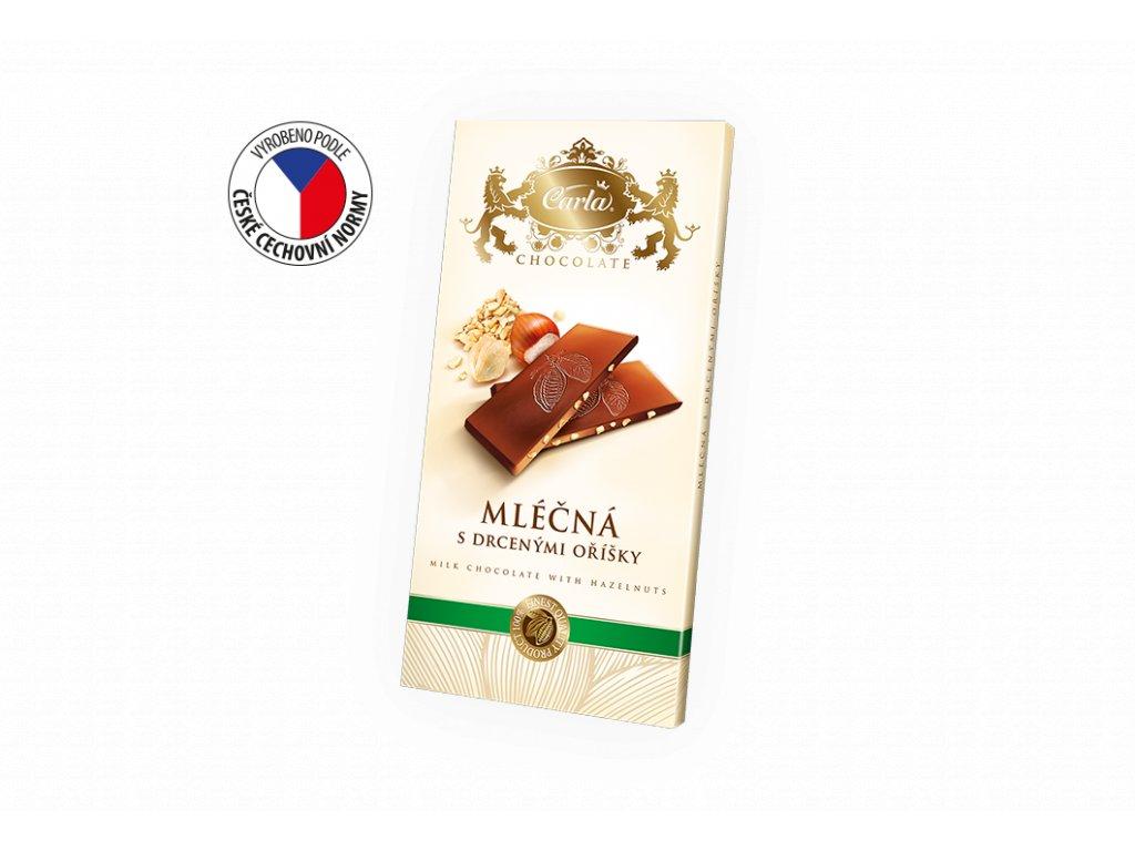 Carla Mléčná čokoláda s lískovými oříšky 80g Záruka 28.6.2021