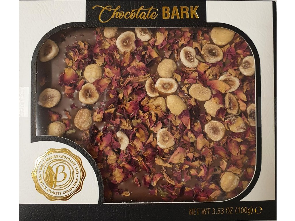 Bolci Bark Mléčná čokoláda ořechy, růže 100g