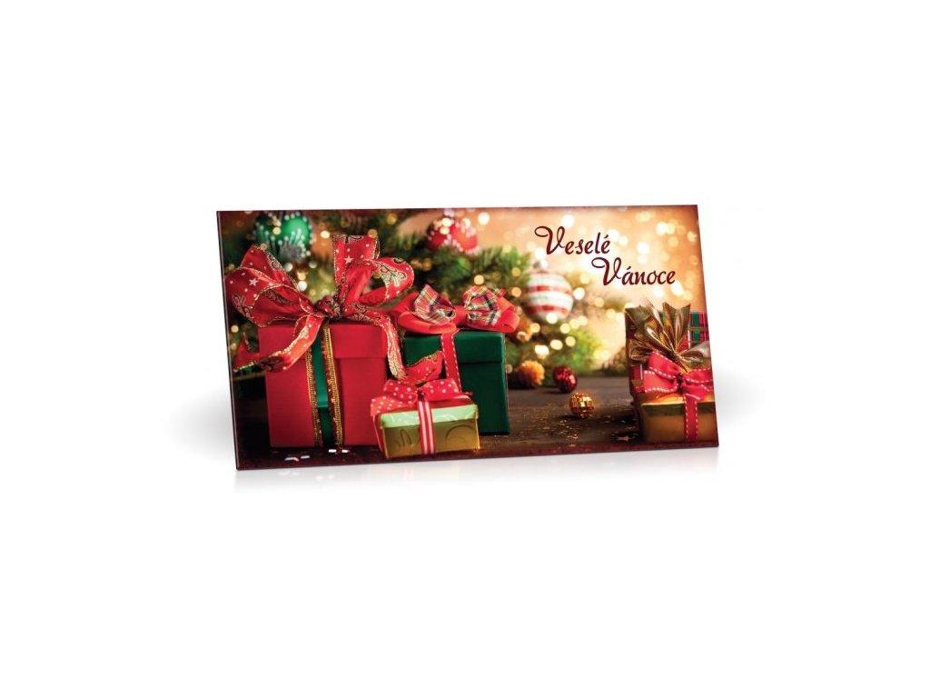 Hořká čokoláda 60% s brusinkami VESELÉ VÁNOCE (červený dárek) 175g