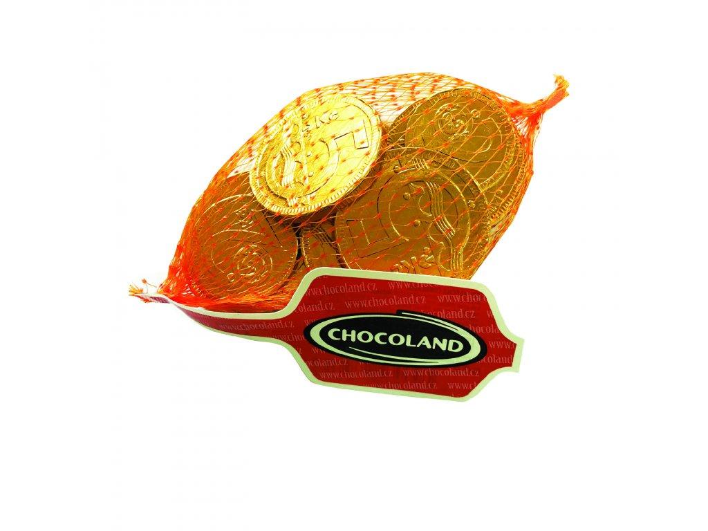 Chocoland Čokoládové zlaté mince CZK v síťce 50g