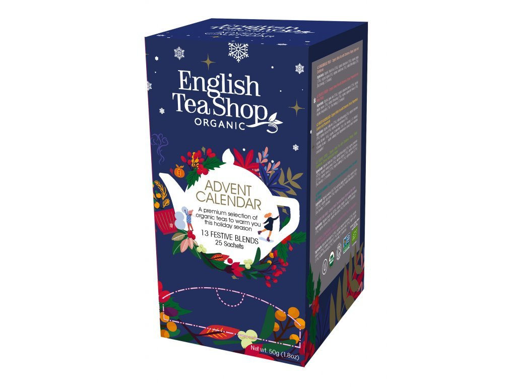 English Tea Shop25 sáčků Adventní kalendář 13 příchutí bio modrá krabička