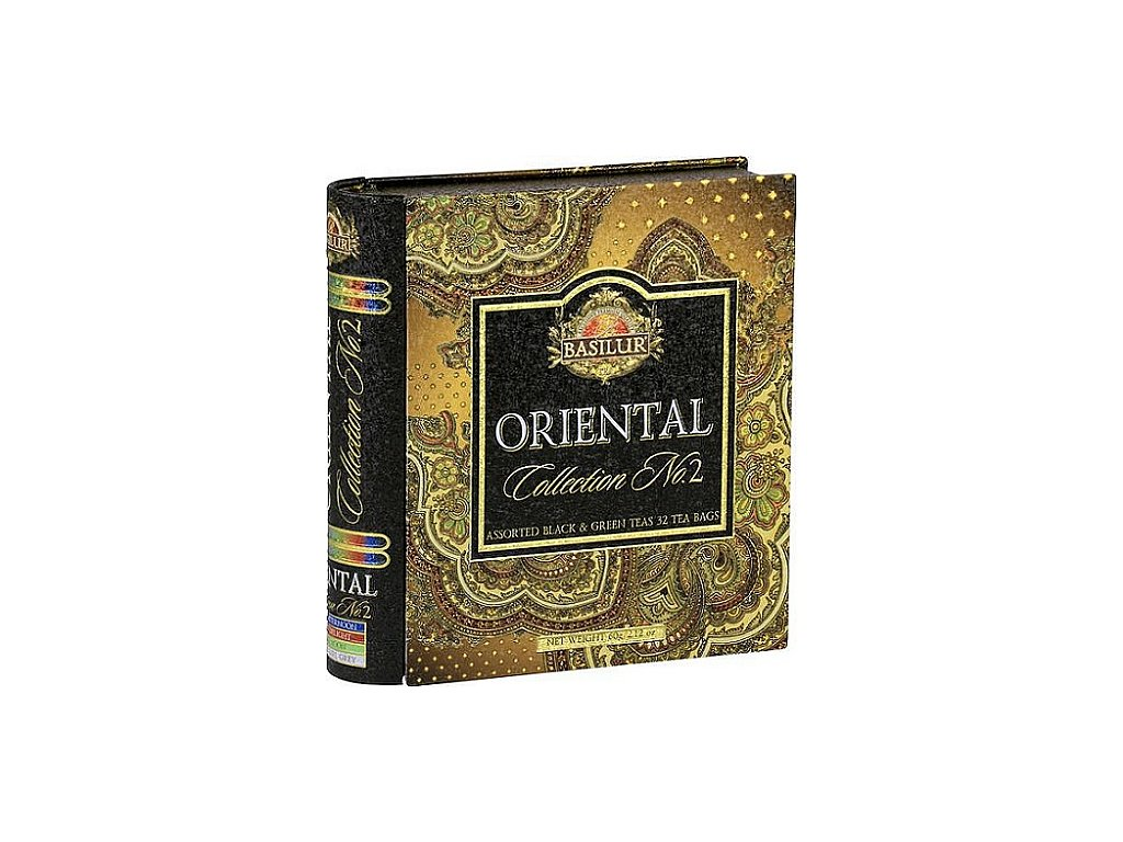 Černý čaj s příchutí Basilur Kniha Orient Assorted II plech 32 gastro sáčků