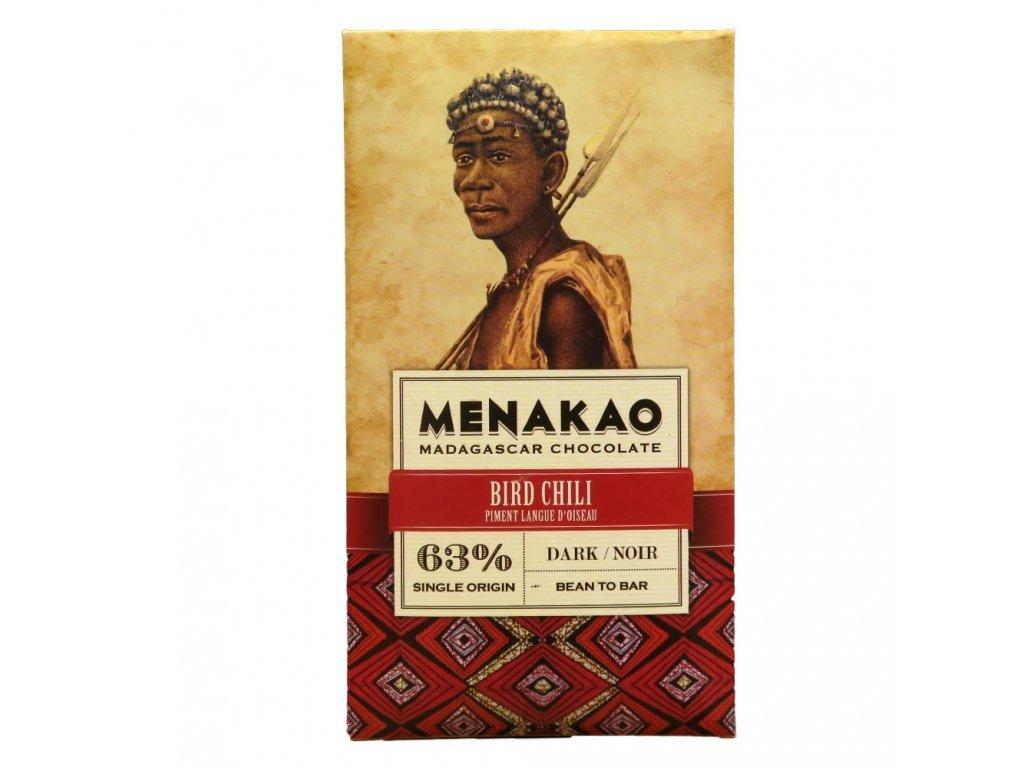 Menakao Hořká čokoláda 63% bird chilli 75g