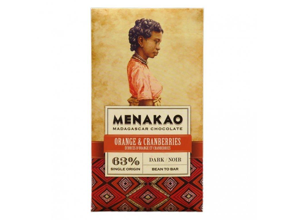 Hořká čokoláda 63% s pomerančem a brusinkami Menakao 75g