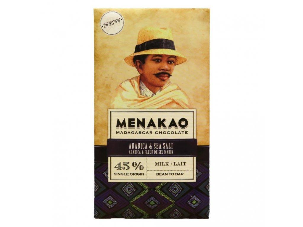 Menakao Mléčná čokoláda 45% s kávou arabika a mořskou solí 75g