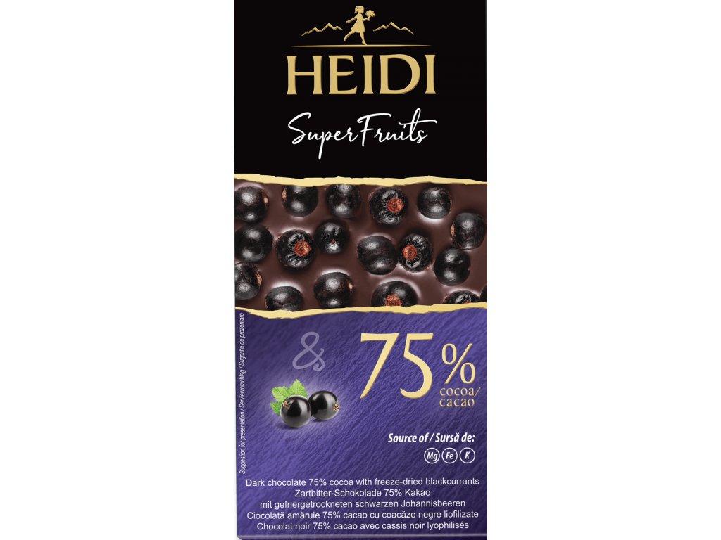Heidi Hořká čokoláda 75% černý rybíz 65g