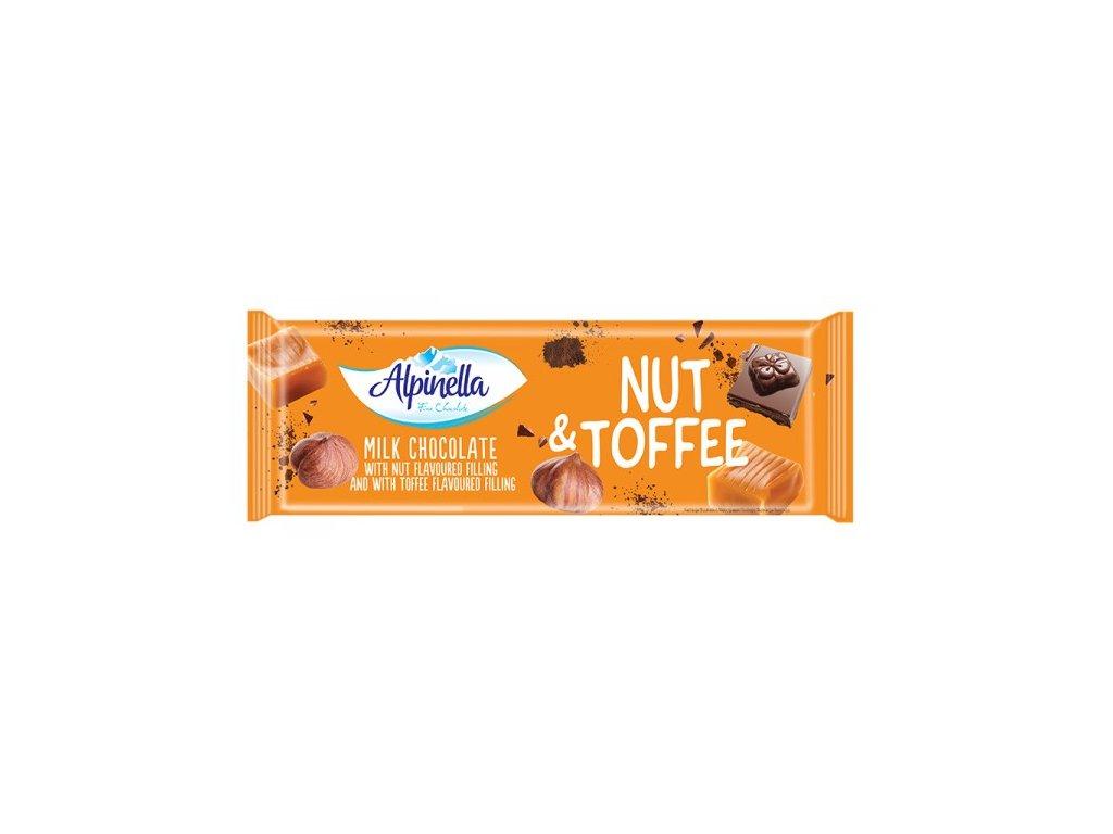 Alpinella Mléčná čokoláda s náplní ořechů a karamelu 270g