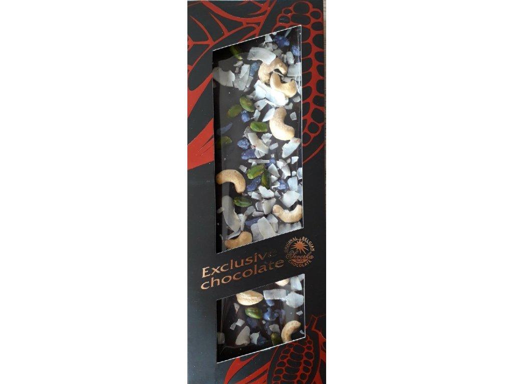 Severka Hořká čokoláda s kešu oříšky, pistáciemi, fialkami a kokosem 130g