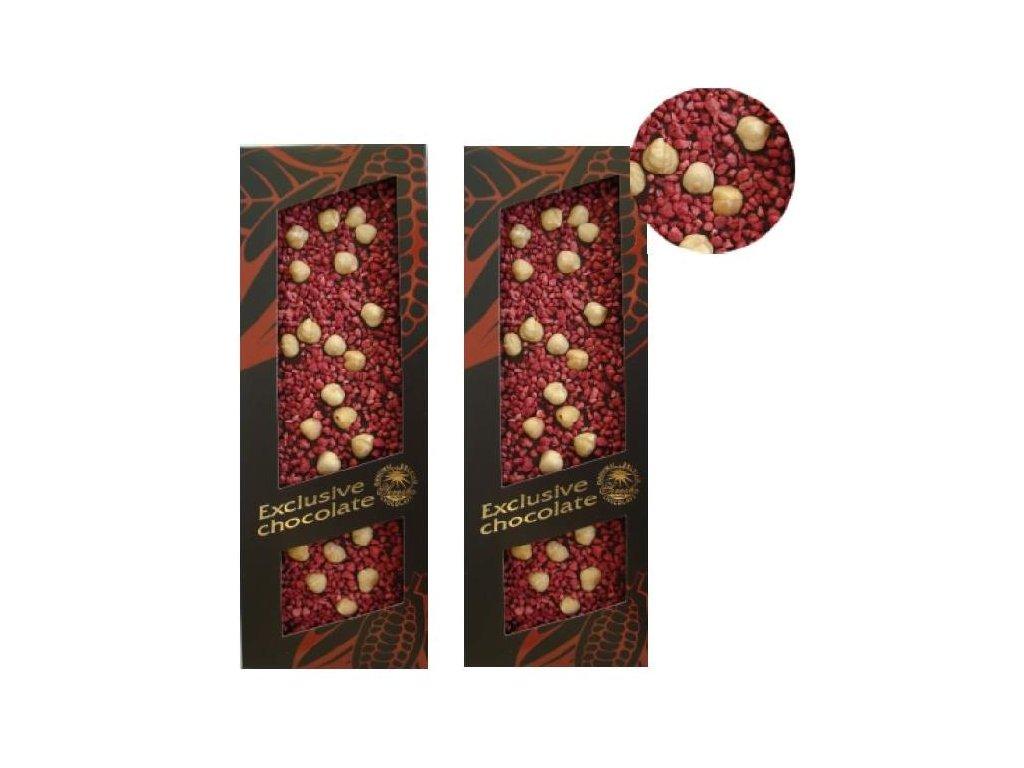 Severka Mléčná čokoláda zdobená lískovými oříšky a malinami 120g