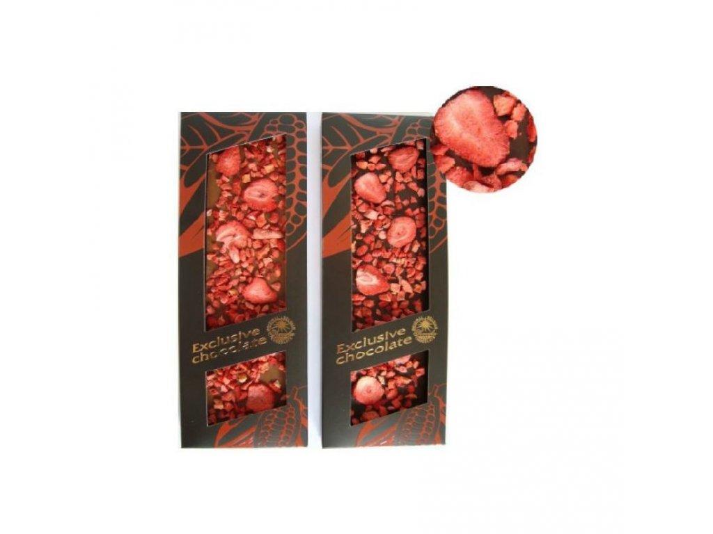 Severka mléčná čokoláda zdobená jahodami 120g
