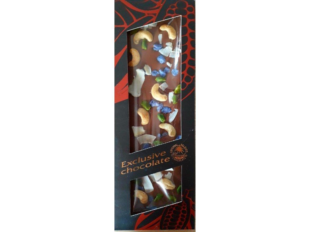 Mléčná čokoláda formovaná s kešu oříšky, pistáciemi, fialkami a kokosem 130g