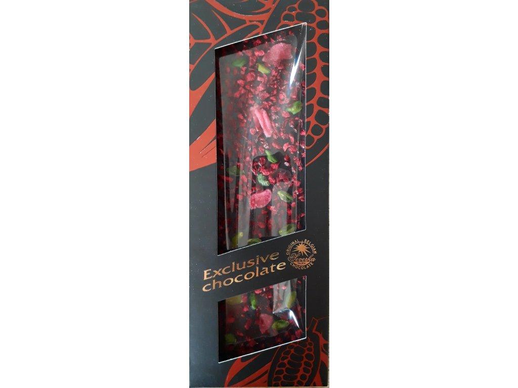 Severka Exclusive Chocolate Hořká čokoláda s pistáciemi, růžemi a višněmi 120g