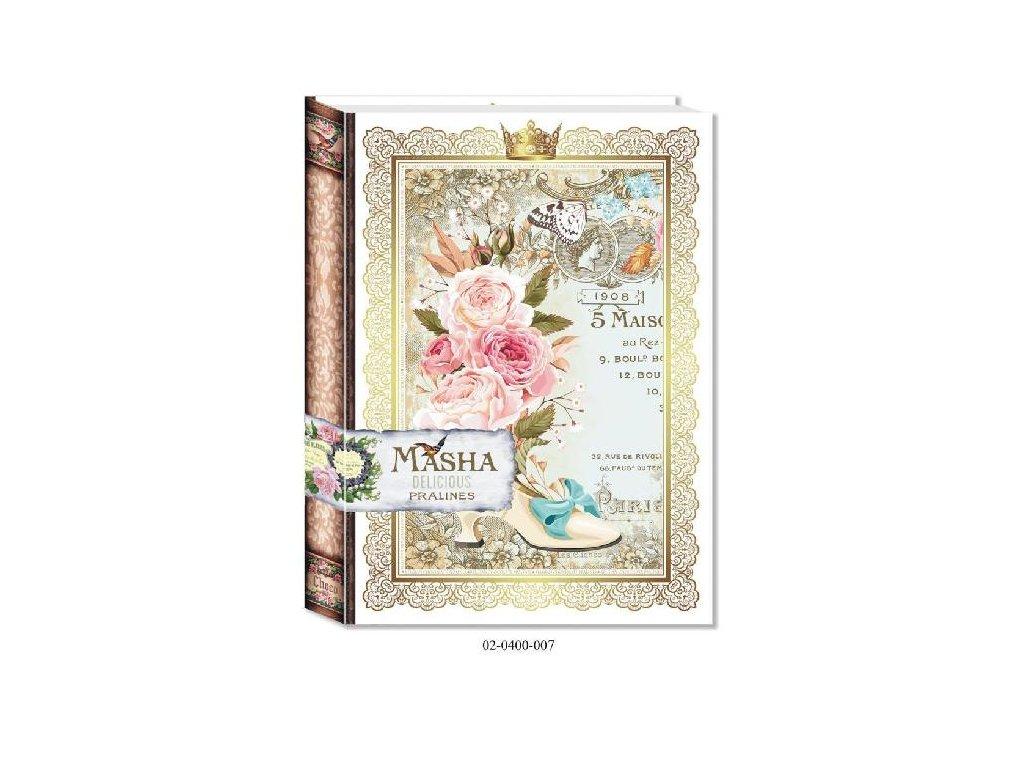 Bonboniéra Kniha motiv Střevíc, květina 400g