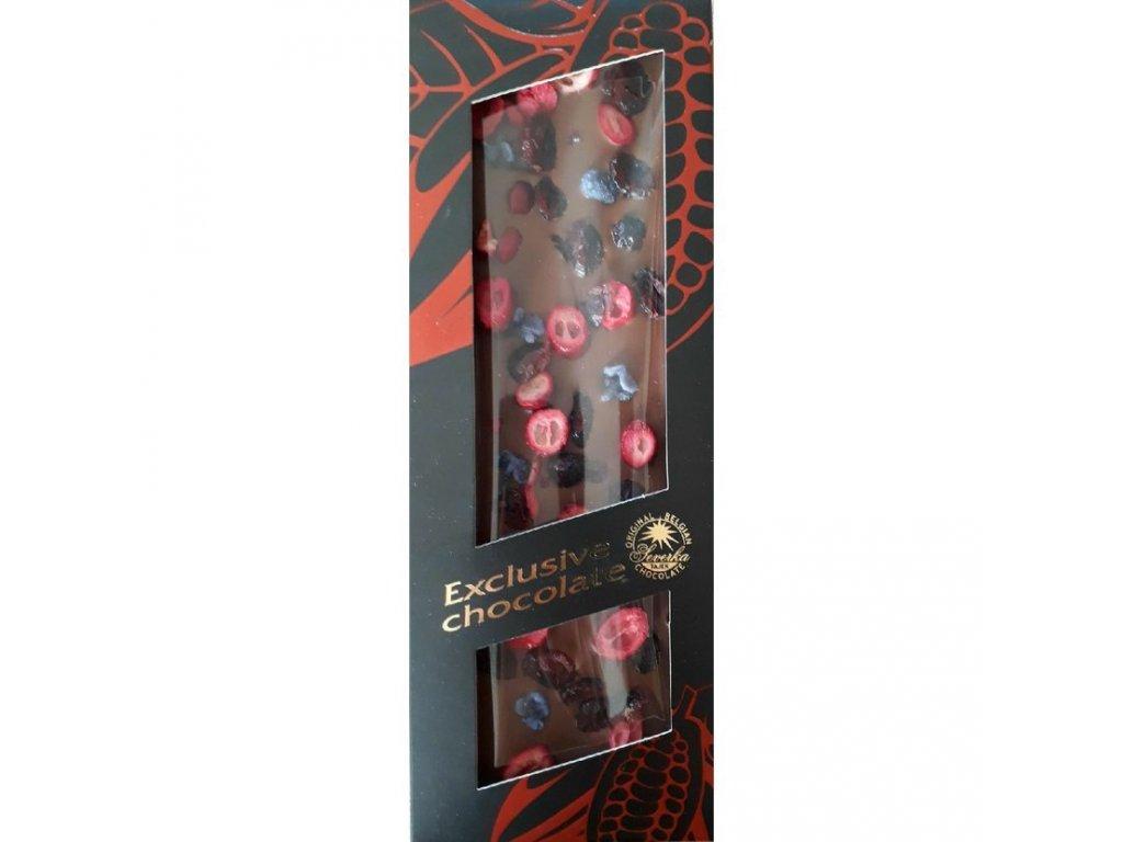 Severka Hořká čokoláda formovaná s brusinkami a šeříkem 125g