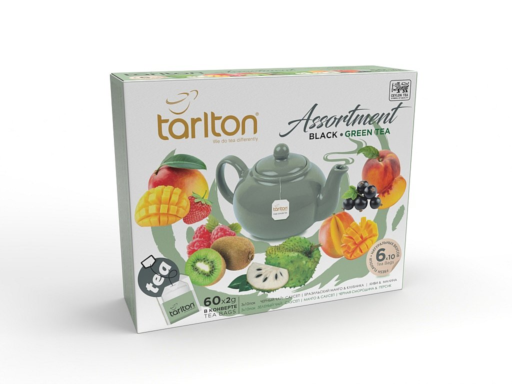 Tarlton Assortment Black & Green Tea Kolekce černých a zelených čajů 60x2g