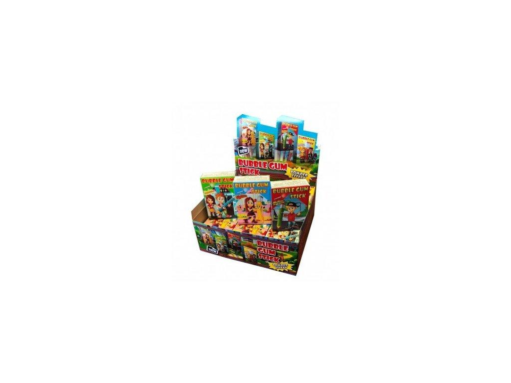 Krabičkové žvýkačky Bubble Gum Stick 35g (display 18ks)