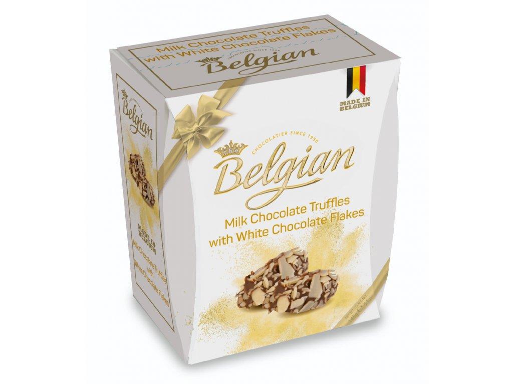 Belgian Mléčné čokoládové truffle s kousky bílé čokolády 145g