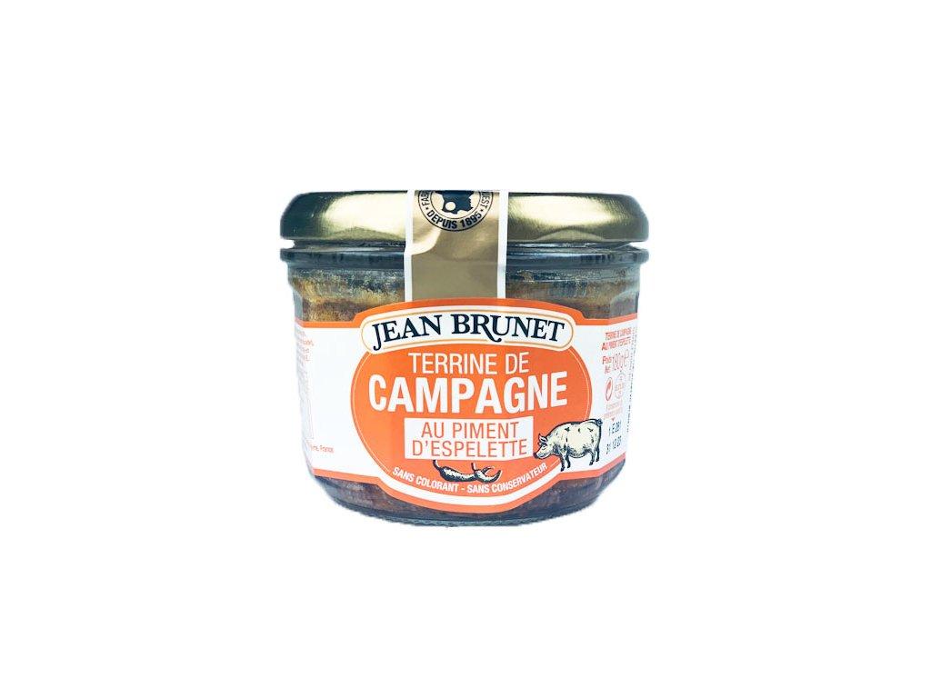 Jean Brunet Farmářská terina s pálivou paprikou espelette 180g