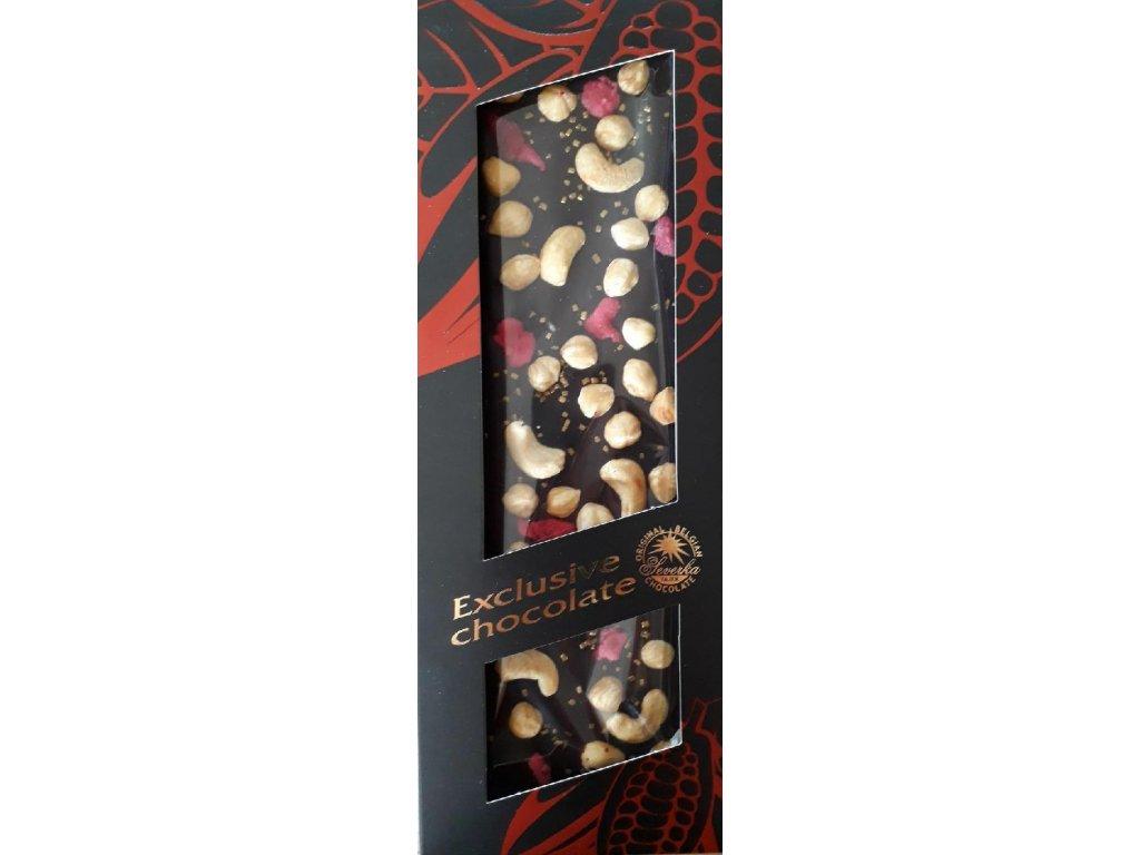 Hořká čokoláda s kešu oříšky, lískový oříšky, růžemi a zlatými krystalky 135g
