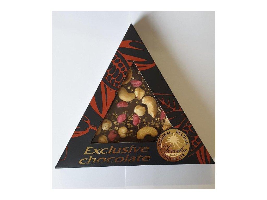 Severka Hořká čokoláda s kešu oříšky, lískovými oříšky, růžemi a zlatými krystalky 50g