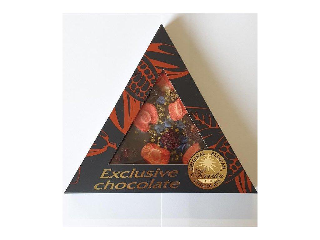 Severka Hořká čokoláda s ostružinami, jahodami, fialkami a zlatými krystalky 50g