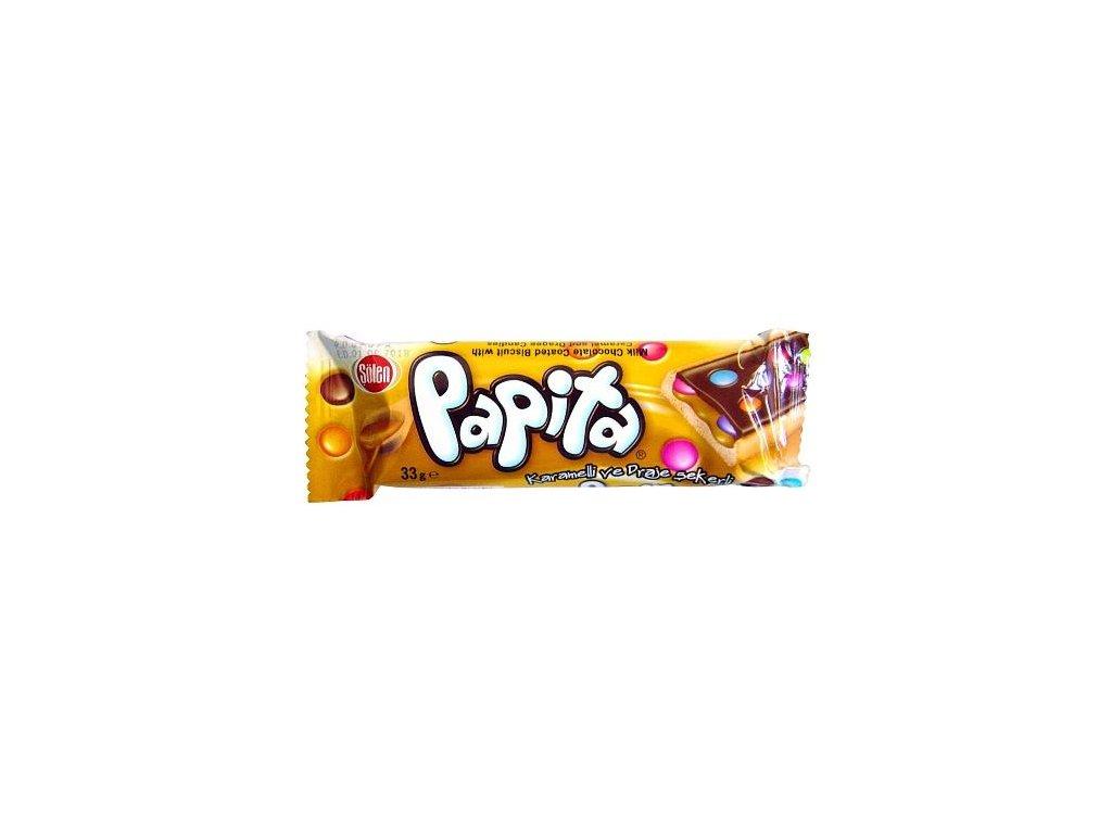 Papita mléčná oplatka s karamelem, dražé a čokoládou 33g 24ks