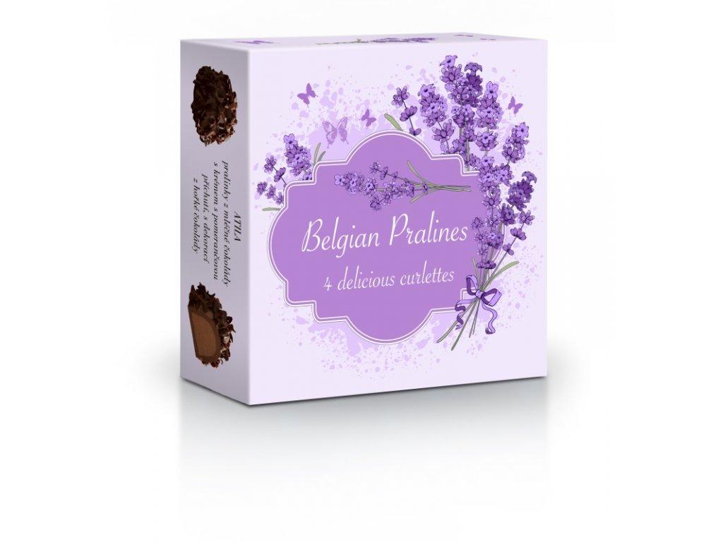 Delafaille Chocolatier Belgické pralinky Curlettes motiv Levandule 50g