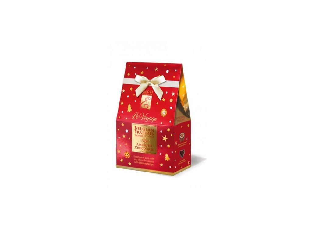 Emoti Le Voyage Dárkové balení pralinek Červená vánoční stříška 75g