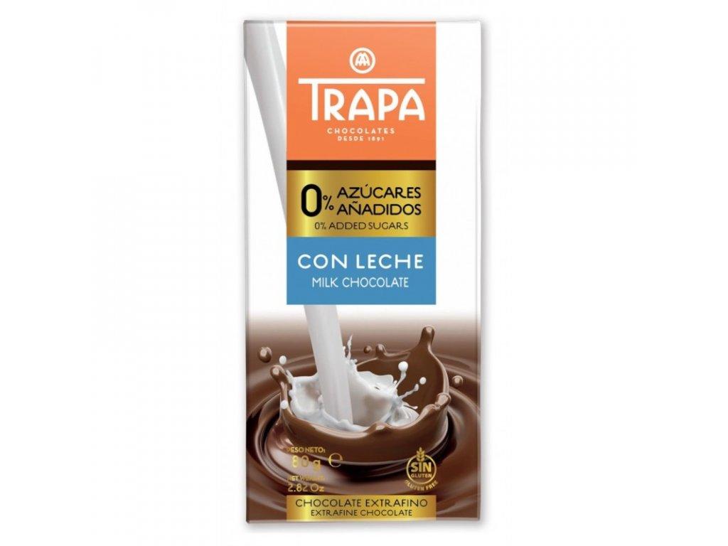 TRAPA mléčná čokoláda bez přidaného cukru 80g