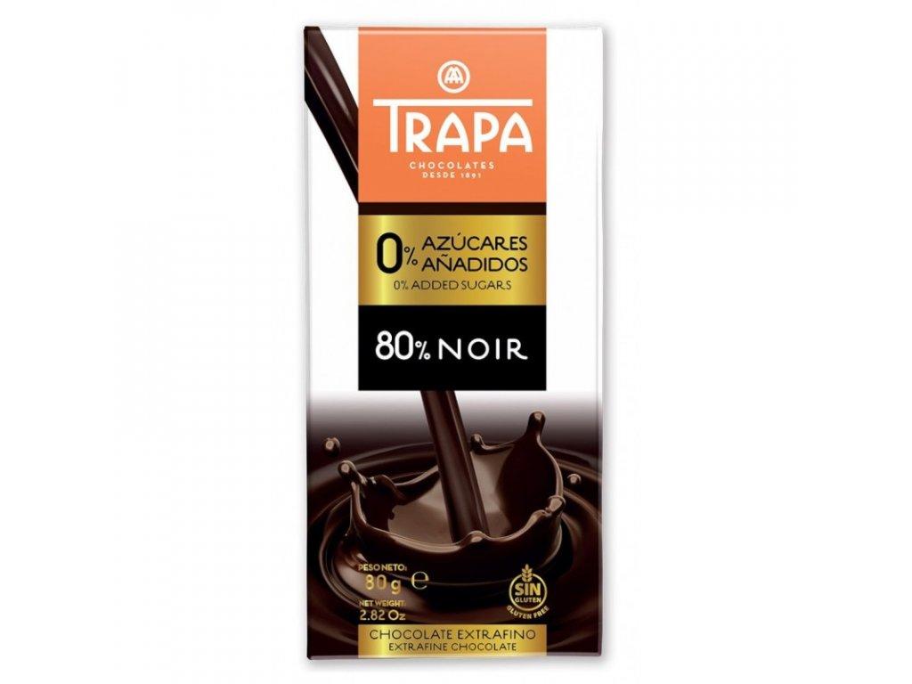 Trapa Čokoláda hořká 80% slazená maltitolem 80g