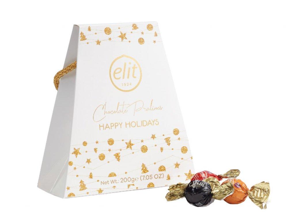 Elit Happy Holidays Pralinky s náplní v bílé vánoční taštičce 200g