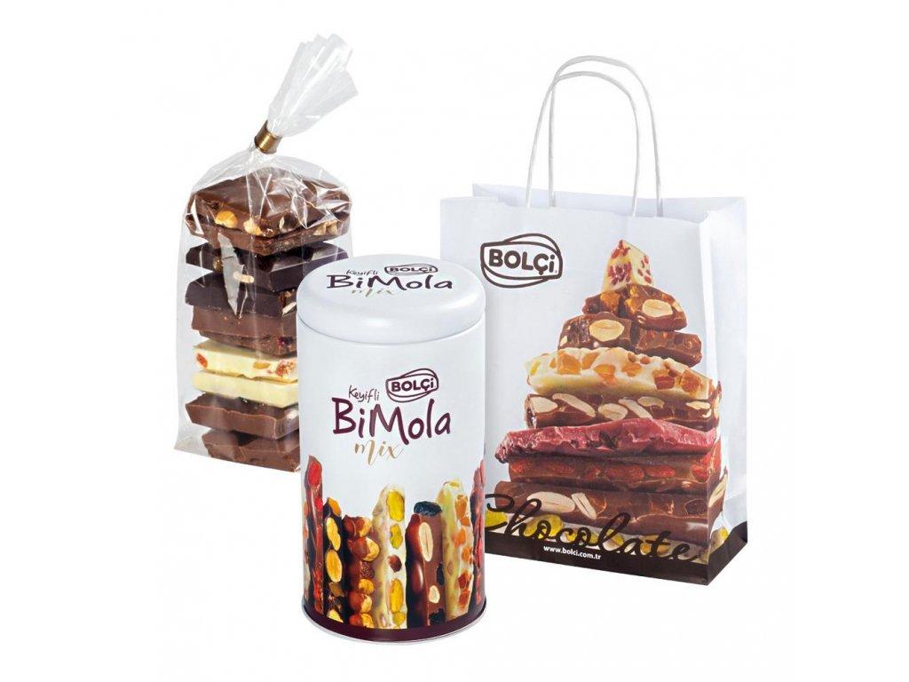 Bolci Lámaná čokoláda v plechovce s taškou 210g