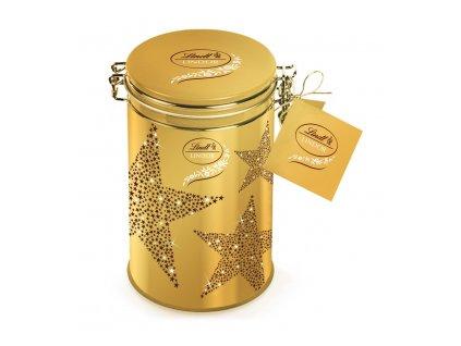 Lindt Lindor Vánoční dóza zlatá hvězdy 150g
