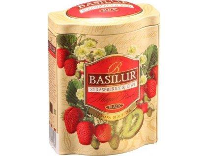 Basilur BLACK STRAWBERRY-KIWI černý čaj plech 100g