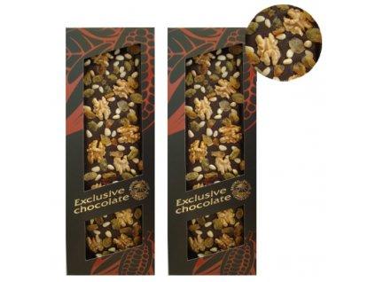 Hořká čokoláda s vlašskými ořechy, piniovými oříšky a rozinkami 120g