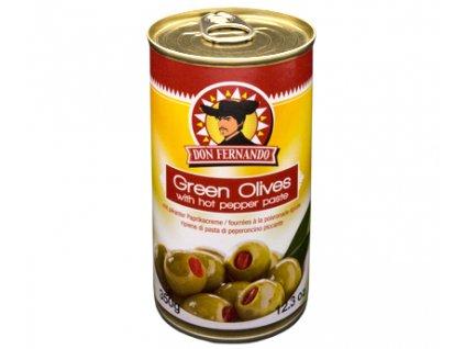Zelené olivy plněné pikantní paprikovou pastou 350ml