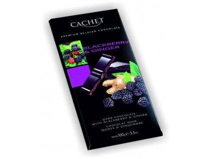 Cachet hořká čokoláda 57% s ostružinou a zázvorem 100g
