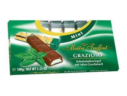 Maitre Grazioso Hořké čokoládové tyčinky plněné mátovou náplní 100g