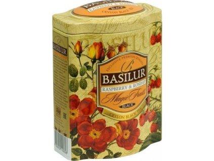 Basilur BLACK RASPBER-ROSEHIP Černý čaj s kousky malin a šípku plech 100g