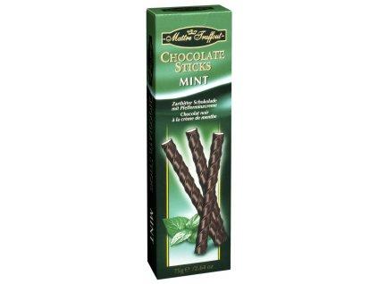 Maitre Truffout delikátní tyčinky z hořké čokolády s jemnou mátovou náplní 75g