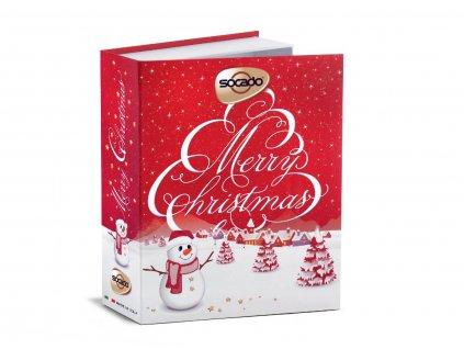 Socado Merry Christmas čokoládové pralinky v balení ve tvaru vánoční knihy 150g