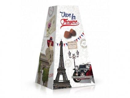 Chocolat Lombart kakaové lanýže s příchutí oříšků motiv Eifellova věž 200g