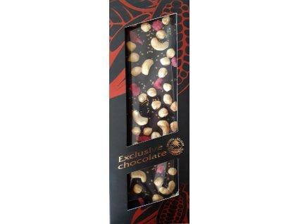 Hořká čokoláda s kešu oříšky, lískový oříšky, růžemi a zlatými krystalky 130g
