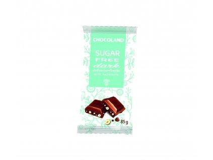 Chocoland Sugar Free Dark wiht hazelnut Hořká čokoláda s oříšky bez cukru 85g