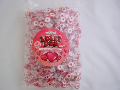 MaXcool Lolli pop Ovocné bonbóny srdíčka 1kg