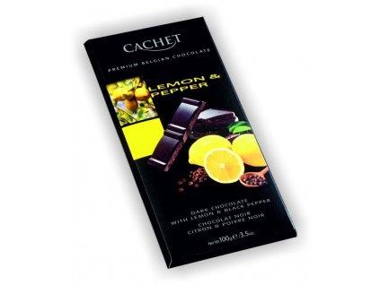 Cachet hořká čokoláda 57% s citrónem a pepřem 100g