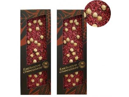 Severka čokolády - Hořká čokoláda s oříšky a malinami 120g