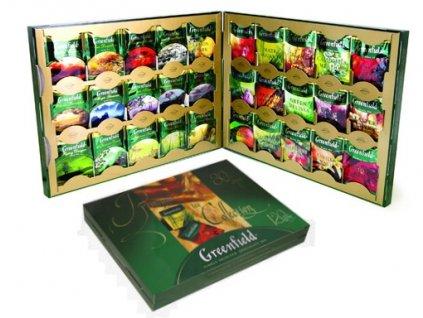 Greenfield Dárková kazeta s černými, zelenými, bílými a bylinnými čaji v gastro sáčcích 120 sáčků