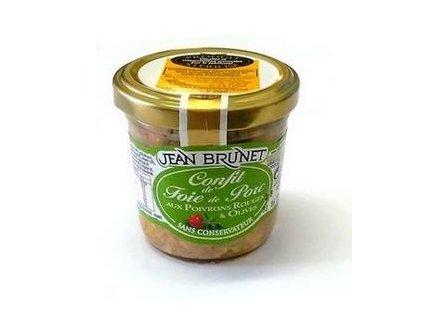 Jean Brunet confit z vepřových jater s paprikou a olivami 90g